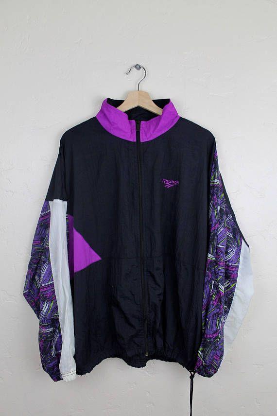 90s Vintage Reebok Windbreaker Jacket Retro Print 90s Reebok Zip Up ... 92c77a98b836
