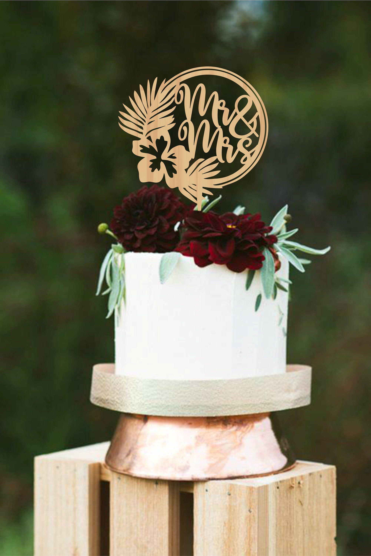 Tropical Wedding Cake Topper Mr Mrs Cake Topper Wreath Wedding