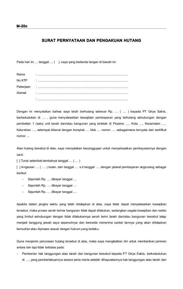 M 20c Surat Pernyataan Dan Pengakuan Hutang Pada Hari Ini Tanggal Saya Yang Bertanda Tangan Di Bawah Ini Surat Form