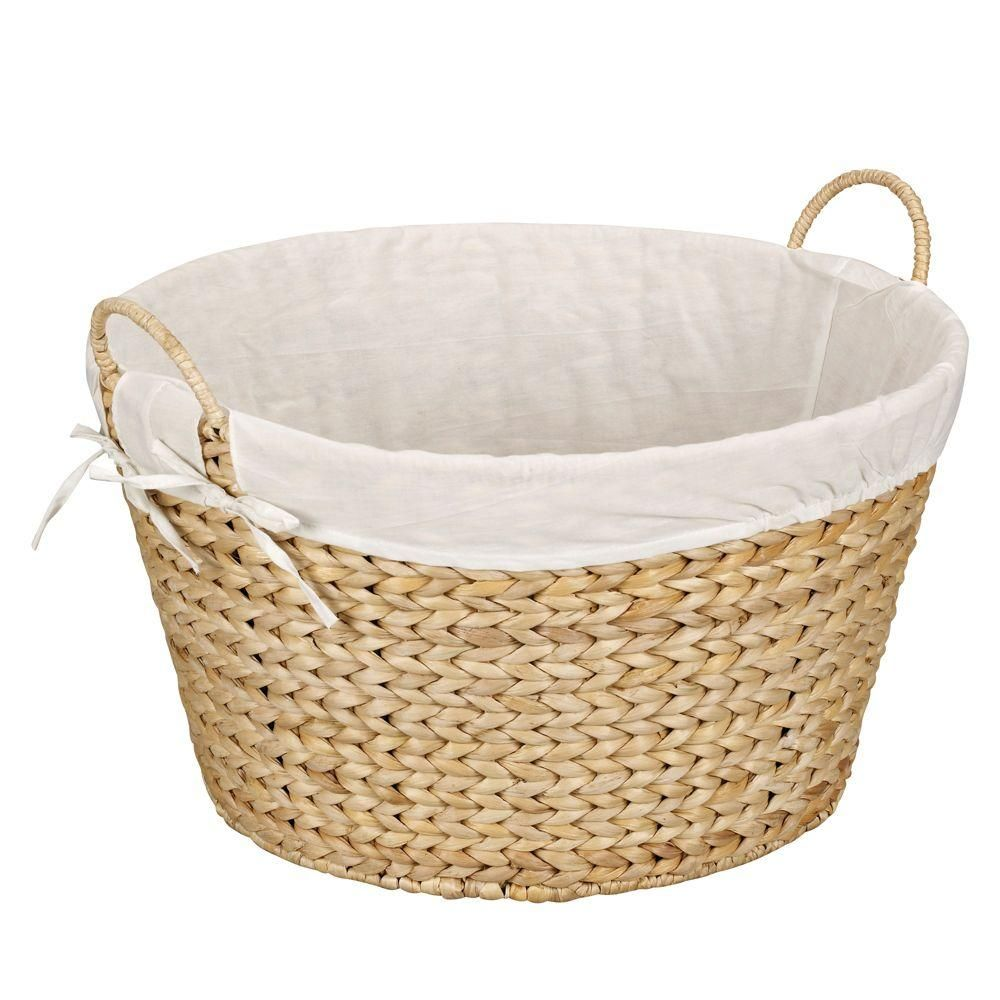 Household Essentials Round Banana Leaf Natural Laundry Basket Tan