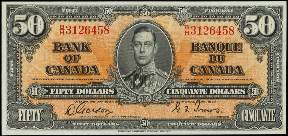 1937 50 Bill From The Bank Of Canada Canadian Money Money Notes Fake Money Printable