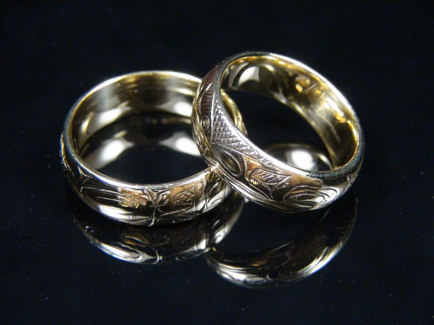 Totem Carving Matching Wedding Bands Hand Carved Warren Peele Vintage 18k Yellow Gold Indianwedding Ringsnativeamerican: Native American Wedding Ring Designs At Websimilar.org