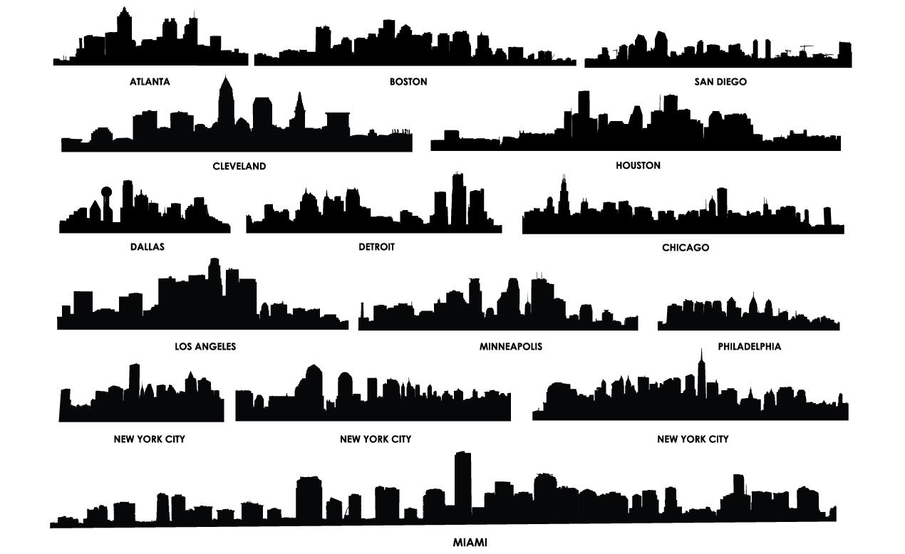 City Skyline Vector Pack For Adobe Illustrator City Silhouette Building Silhouette Cityscape Silhouette