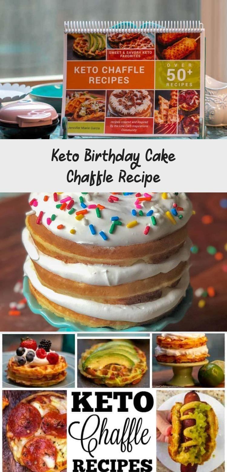 Keto Birthday Cake Chaffle Recipe with sprinkles