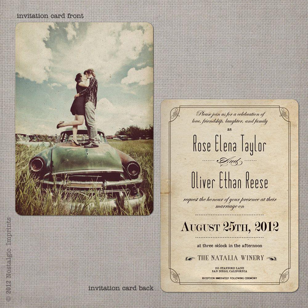 Vintage Wedding Invitation the Rose 3 by NostalgicImprints | Wedding ...