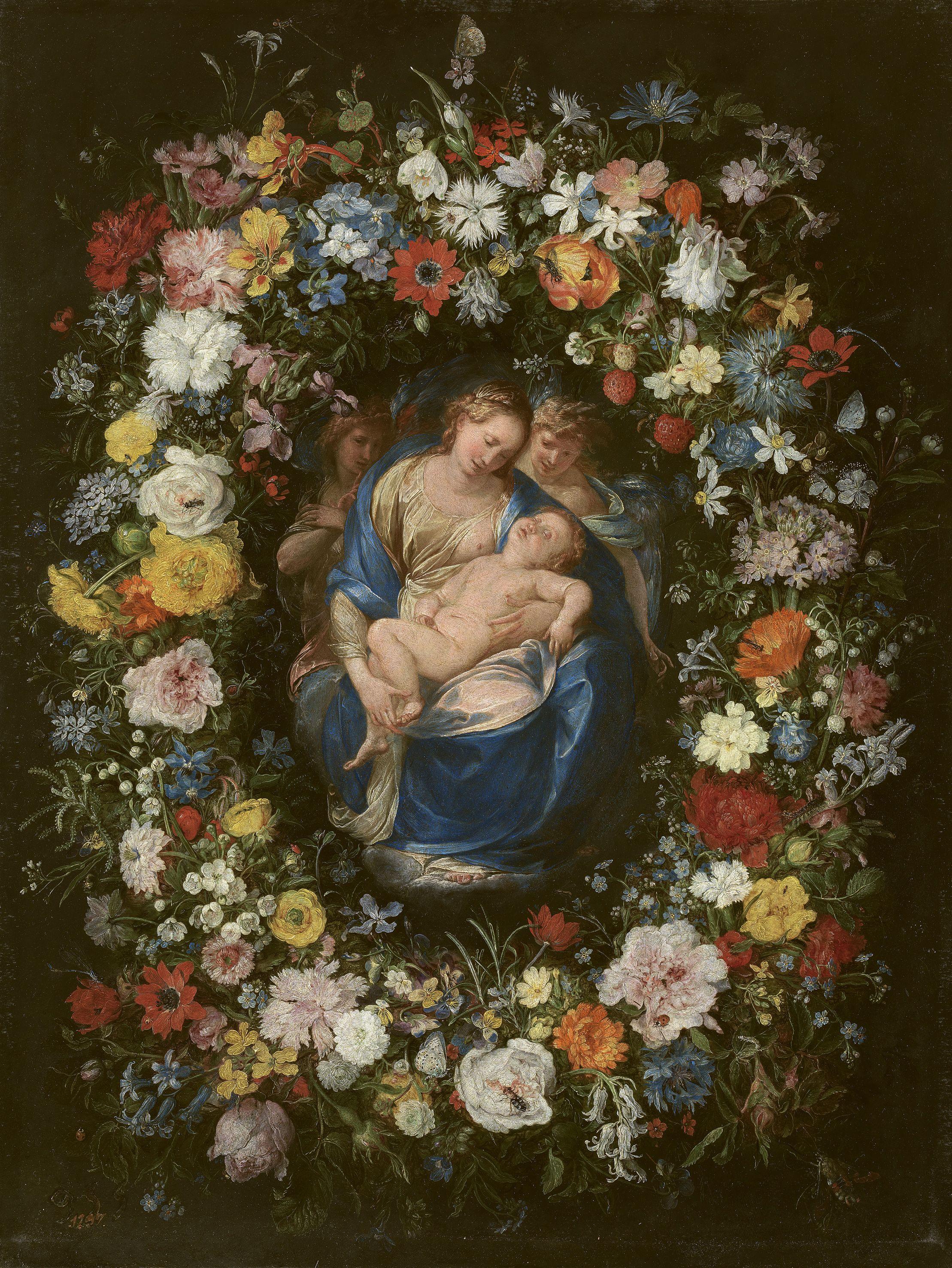 Quot Guirnalda Con La Virgen El Ni 241 O Y Dos 225 Ngeles Quot Jan
