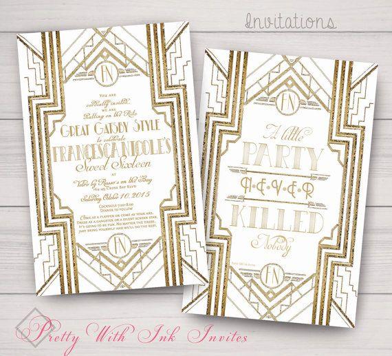 Sweet Sixteen Wedding Invitations Gatsby Roaring 20s Gold Etsy Monogram Invitation Engagement Invitations Gatsby Invitations