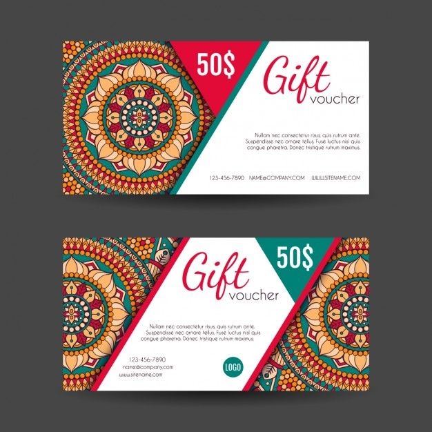 Boho style gift vouchers designs Free Vector Card \ Banner - design gift vouchers free