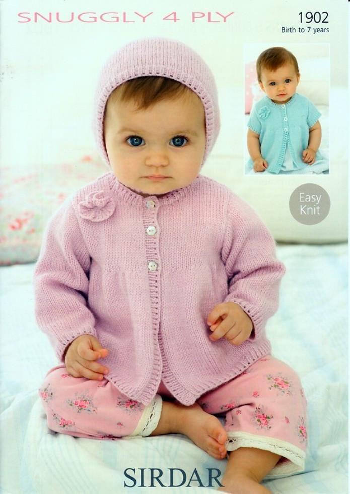 Sirdar Baby Cardigans Hat 4 Ply Knitting Pattern 1902 Baby