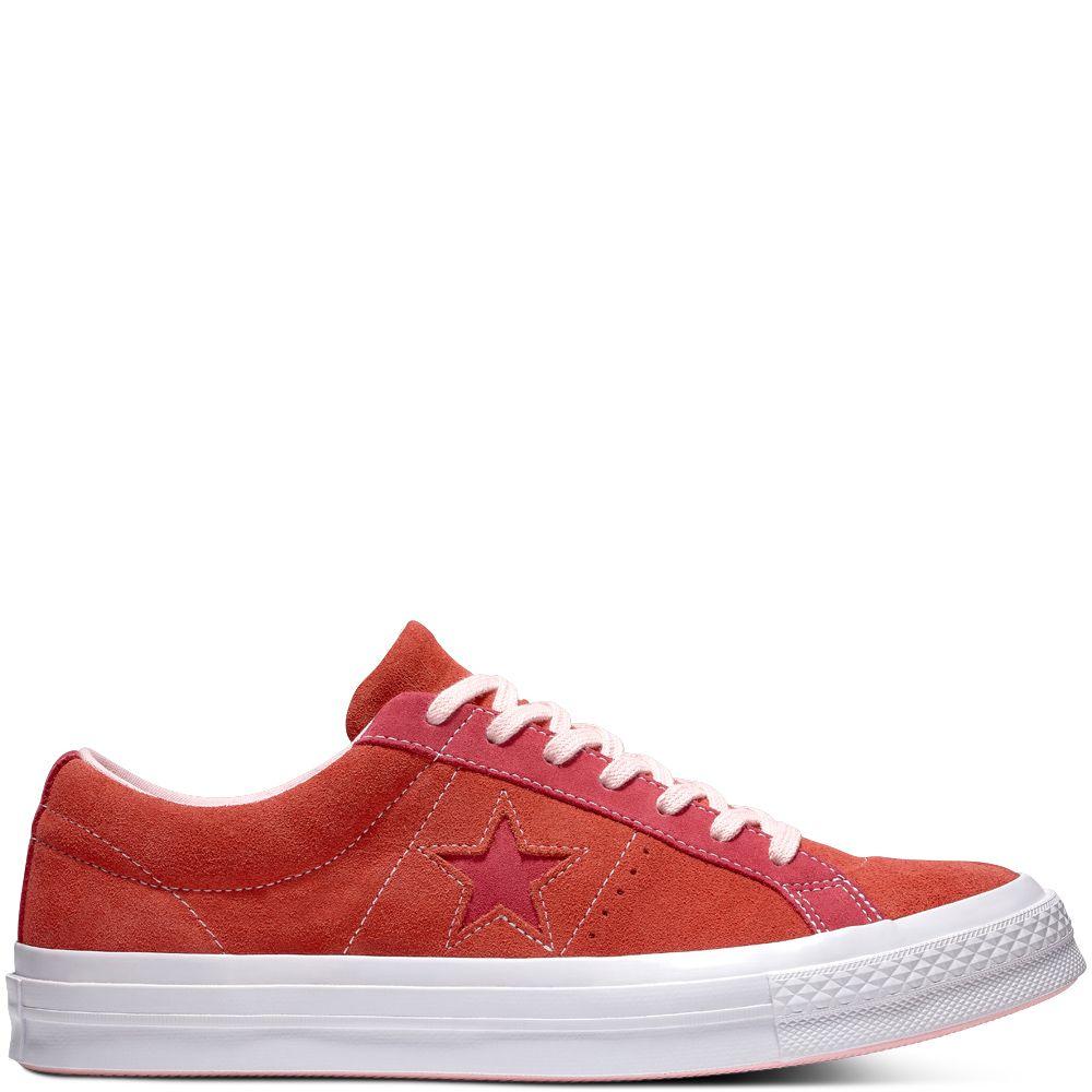 c1778eb1f43c One Star Carnival Suede Low Top Enamel Red Pink Pop enamel red pink ...