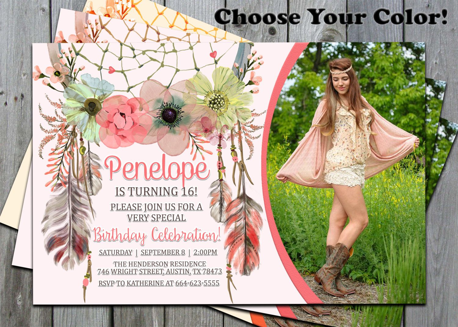 happy birthday invitation pictures%0A Dreamcatcher Invitations  Dreamcatcher Birthday Invitation  Boho Birthday  Invitations  Tribal Invitations  Bohemian