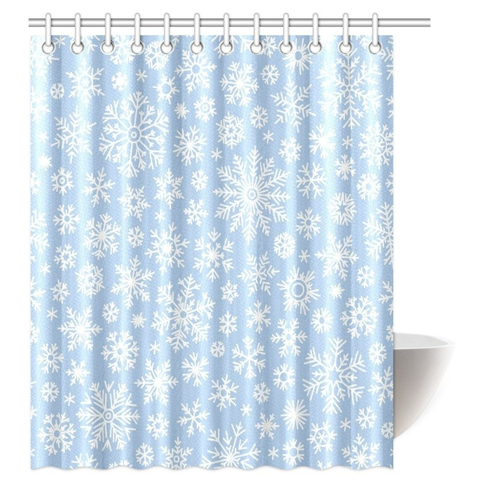 Christmas Shower Curtain Snowflake Vintage Country Style Floral Circular In 2020 Christmas Shower Curtains Shower Curtain Curtains