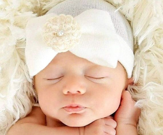 ON SALE A Best Seller! Newborn Hospital Hat Baby s 1st Keepsake! Newborn  Baby Hats. With Pretty Bow Flower   Pearl. The Mary. Choice of Flow 10e7bd3f7fa3