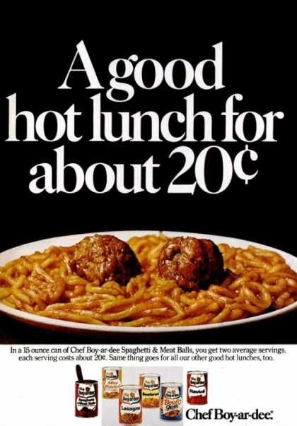 1973 Chef Boyardee ...a good lunch for about 20 cents...