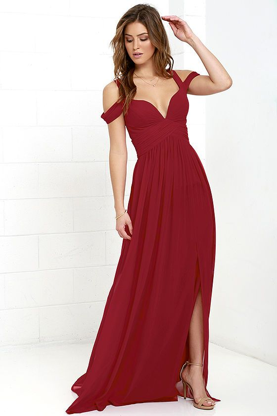 Bariano red long dress with lace top