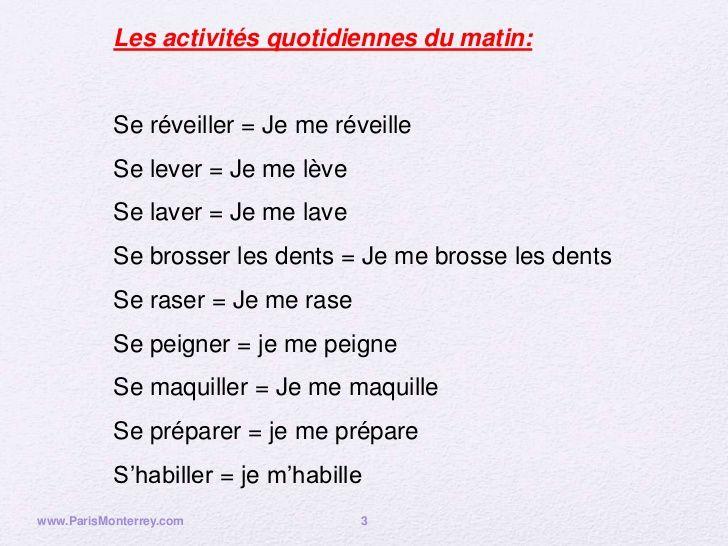 Je Me Leve Je Me Lave Je Me Brosse Les Dents Cerca Con Google Teaching Language