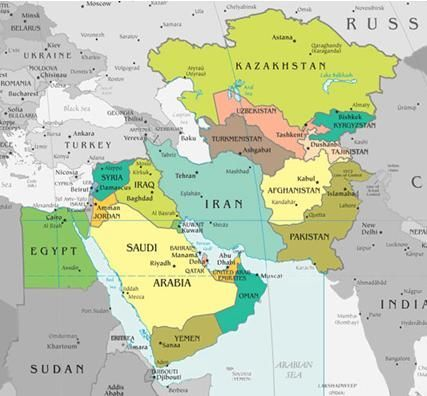 Middle East Countries Map Armenia Azerbaijan Turkmenistan - Azerbaijan maps with countries