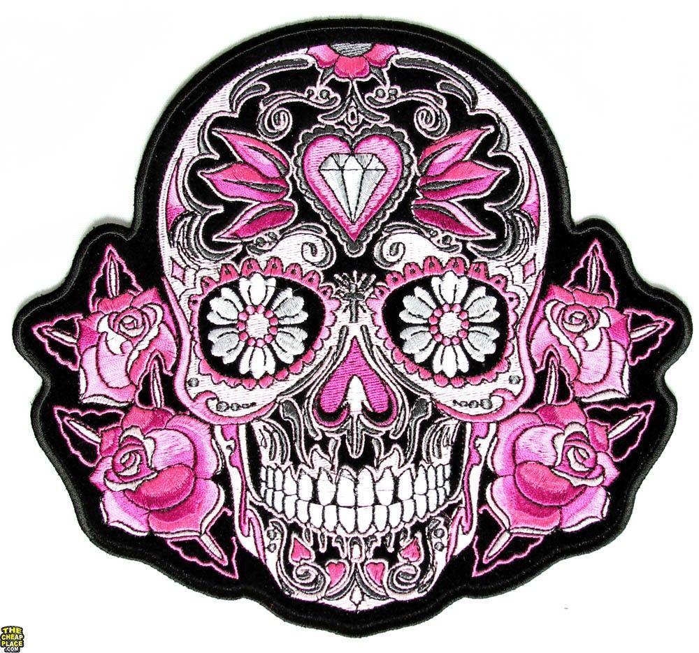 Pink Roses Sugar Skull Patch Sugar skull tattoos, Pink
