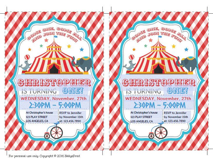 Circus Birthday Invitation, Circus Party Invitation, Circus Party - circus party invitation