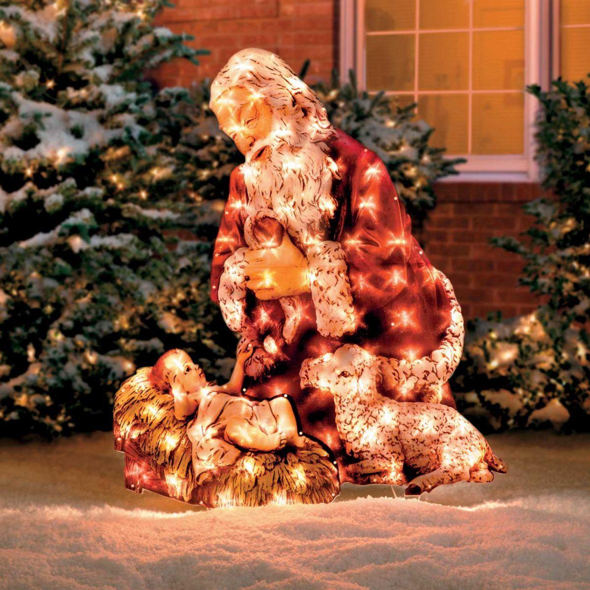 Kneeling Santa Lighted Yard Art Jesus christmas