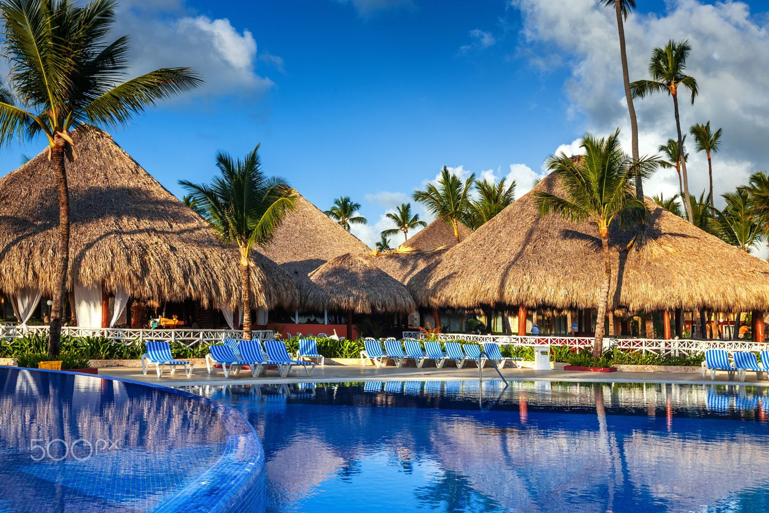 Tropical swimming pool in luxury resort, Punta Cana by
