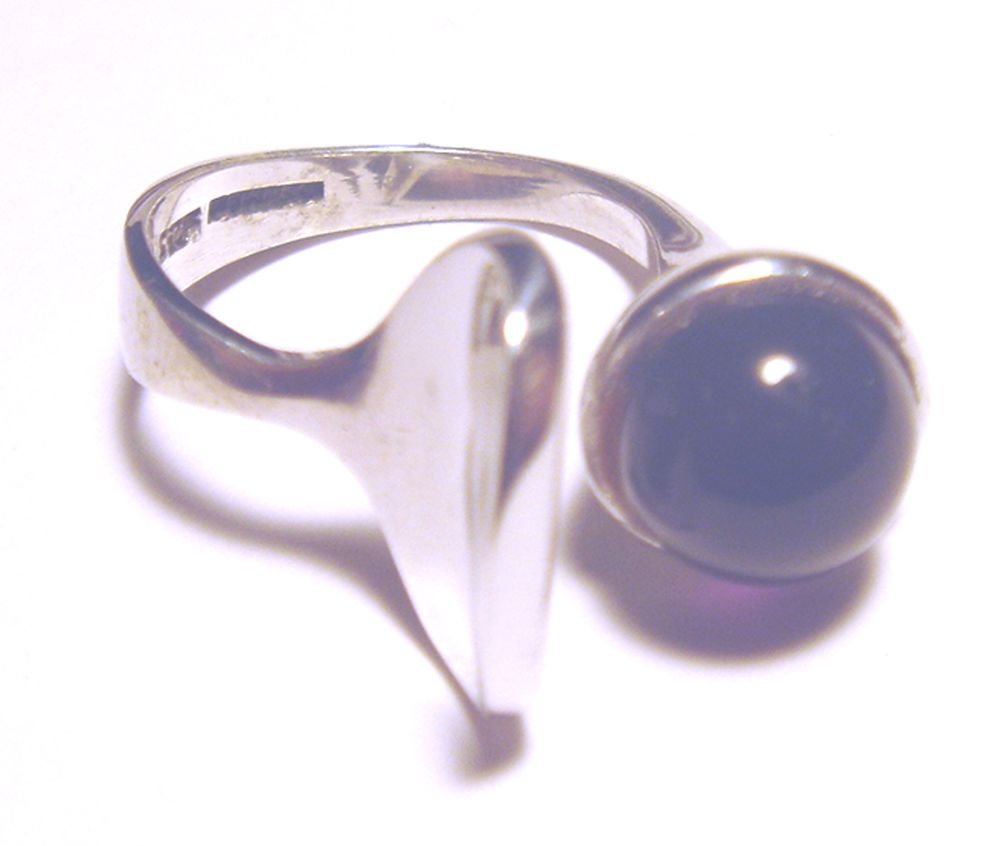 Mid century modernist sterling silver amethyst jens asby ring