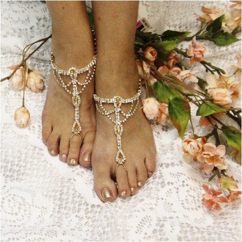 SOMETHING SPECIAL wedding barefoot sandals rose gold Barefoot