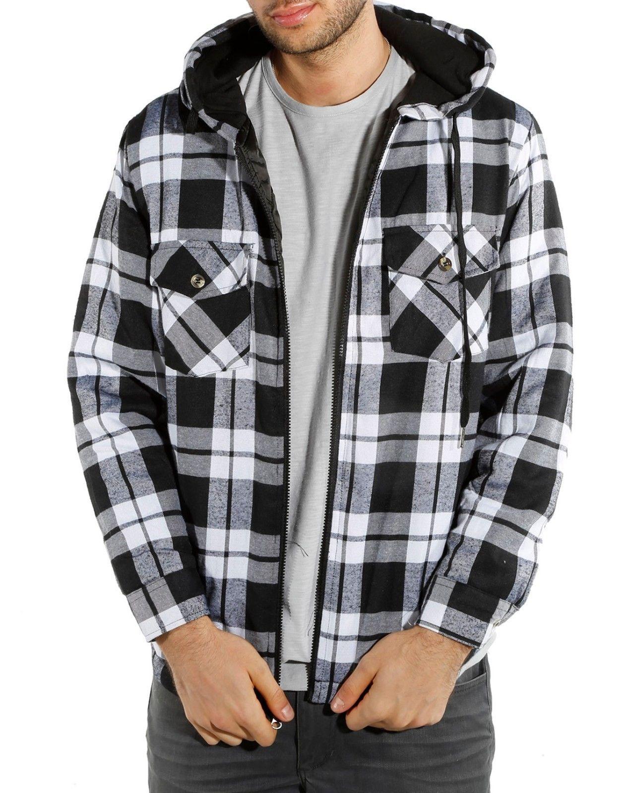 Flannel shirt under suit  Menus Quilted ZipUp Hooded Flannel Plaid Jacket Sweater Hoodie M