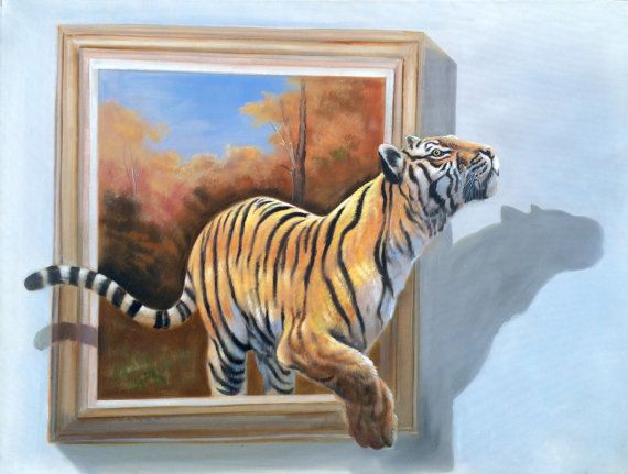 36x48 Tiger Escape  hand-painted oil on canvas  by StudioM27
