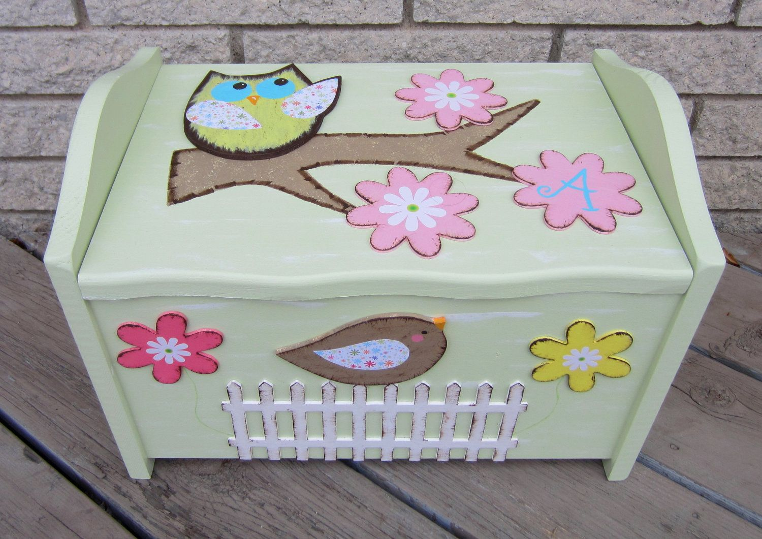 Brooke Owl Toy Box Chest Keepsake Trunk Hand Painted