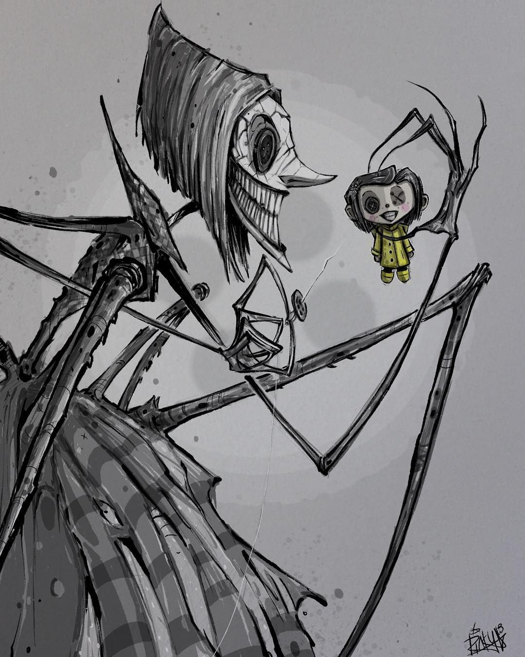 The Beldam Feat The Coraline Doll Drawing By Mrrevenge Instagram Coraline Tim Burton Art Coraline Drawing Coraline