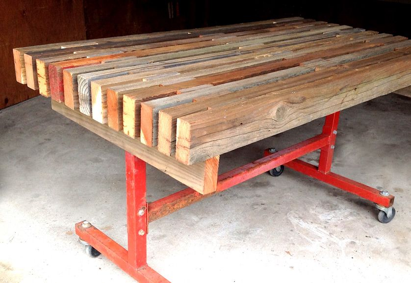 Reclaimed wood table red industrial metal base jennifer for Price of reclaimed wood