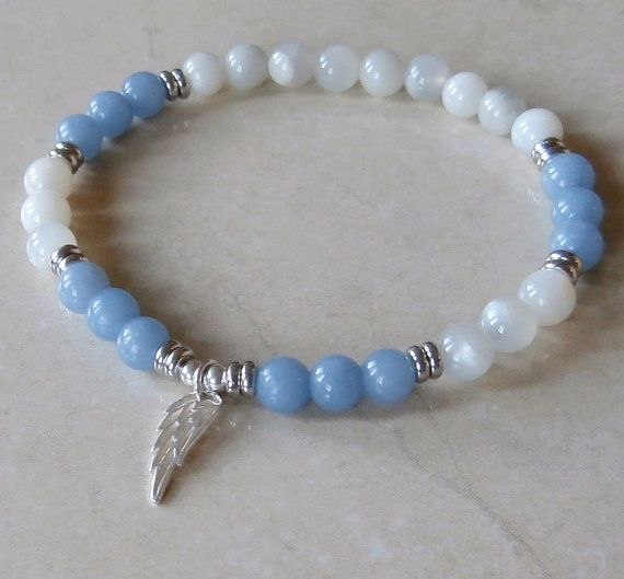 Spiritual Guidance Angelite, Moonstone, Sterling silver Angel wing, Yoga Bracelet, Meditation bracelet, Reiki Charged, free shipping. $31.00, via Etsy.