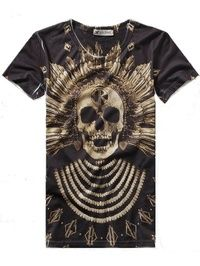 Round Neck Short Sleeve Skull Printed Fashion Men Cool T-Shirts M/L/XL 509-T06