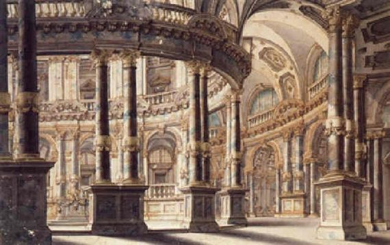 Giuseppe galli bibiena a circular courtyard and colonnade design for the stage
