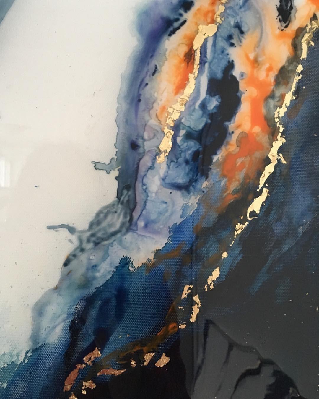 Nicole Sonneson On Instagram Navy And Orange Resin Painting Up Close Details Resinart Resin Artresin Watercolor Gold Navy In 2020 Resin Painting Painting Orange Art