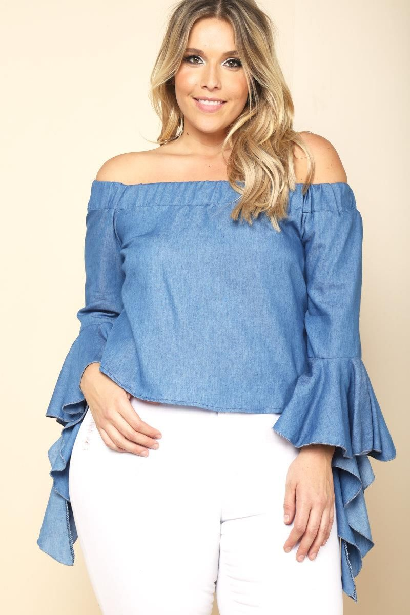 2e1ef1007f8 STYLE   155531 PLUS SIZE RUFFLED BELL SLEEVE CHAMBRAY BLOUSE  24.99 ...