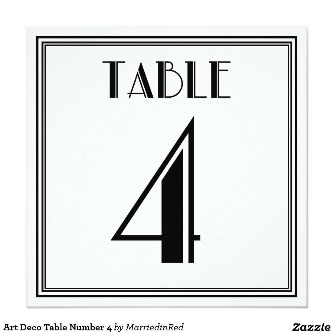Art Deco Table Number 4 5.25x5.25 Square Paper Invitation Card