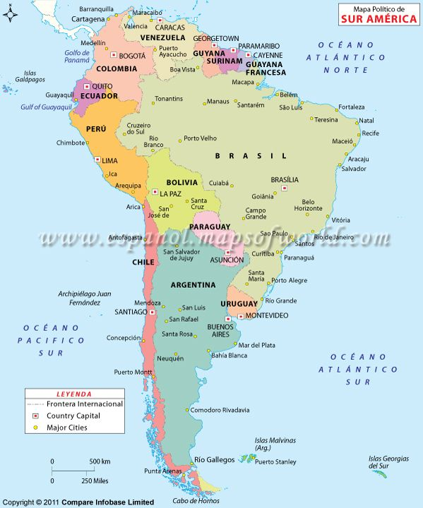 Map Of Javier Spain.Mapa Politico De America Del Sur Maps All World South America