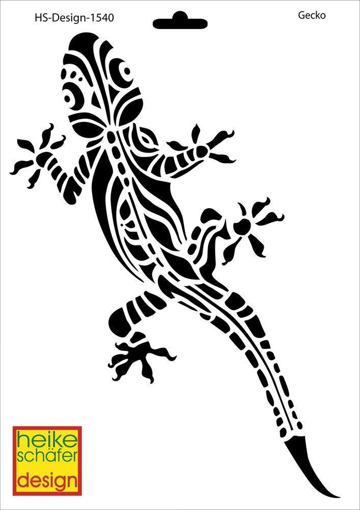 Schablone A4 Art Nr 1540 Gecko Heike Schafer Schablonen Gecko Vorlagen