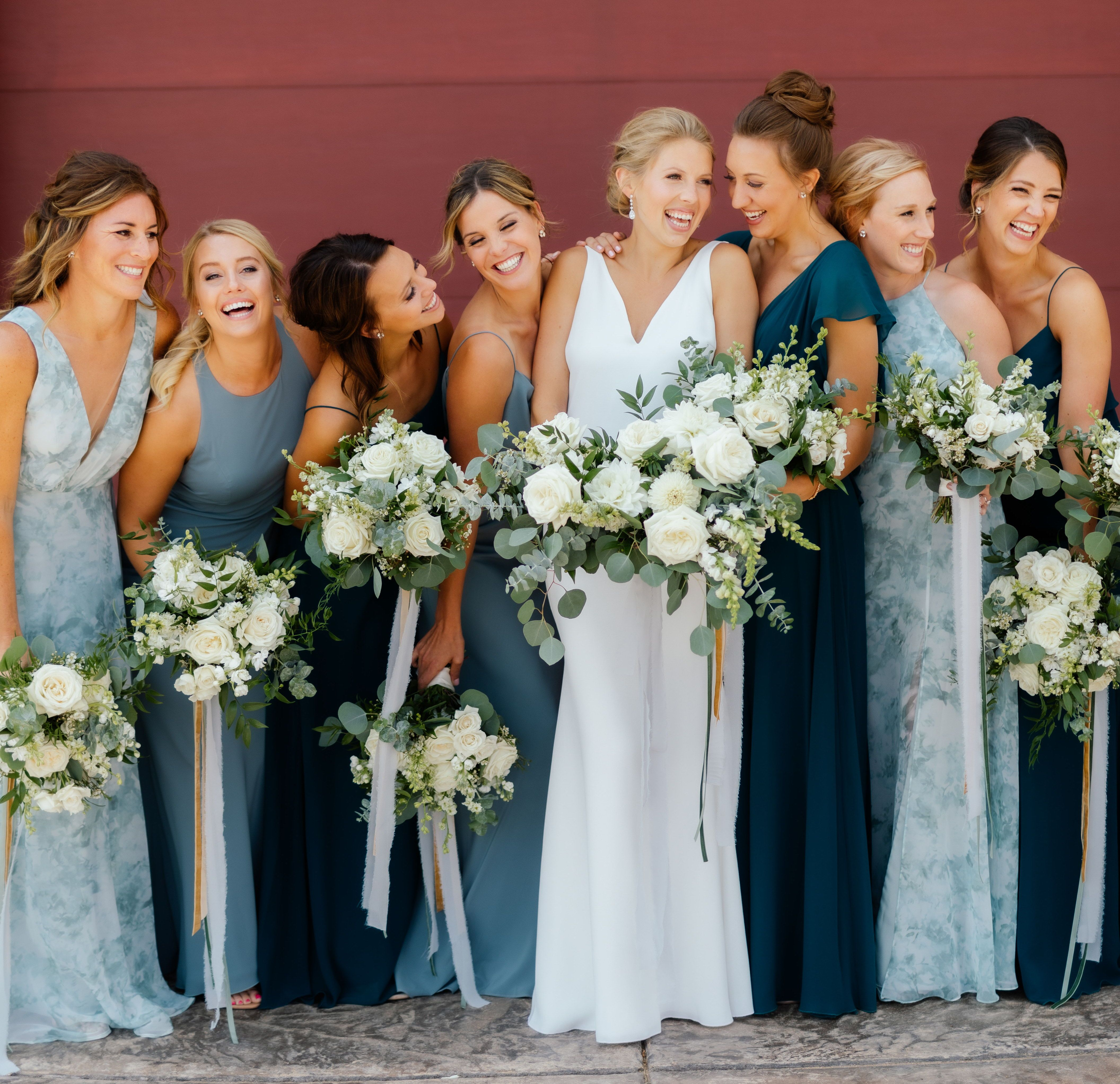 Jenny Yoo Bridesmaids In Gorgeous Shades Of Deep And Light Blues In Sultry C Blue Bridesmaid Dresses Fall Light Blue Bridesmaid Dresses Blue Bridesmaid Dresses [ 4088 x 4224 Pixel ]