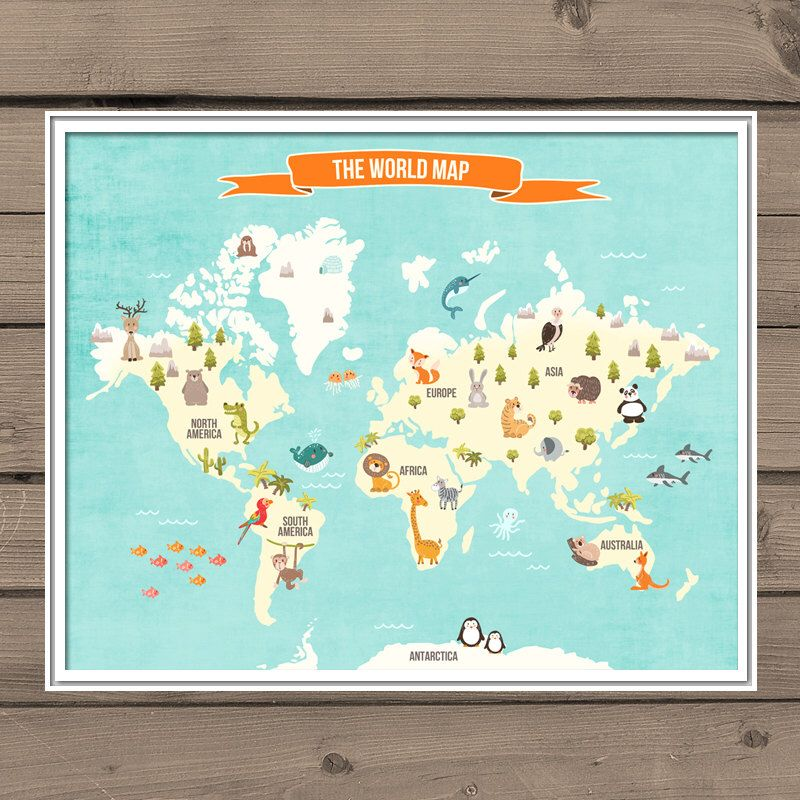World Map Decal World Map Animals Animal World Poster Map