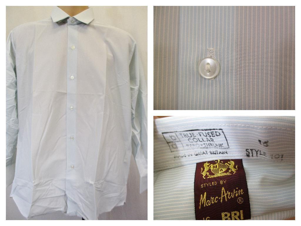 Blue stripe wallpaper ebay - Vintage 70 S Mens Pale Blue Stripe Bri Nylon Business Shirt