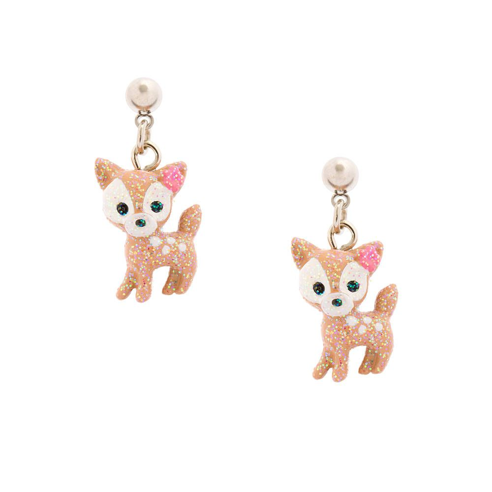 kids glitter deer drop earrings claires jewelry for