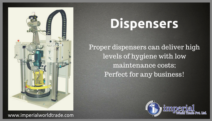 Dispensers! Proper dispensers can deliver high levels of hygiene with low maintenance costs; Perfect for any business!