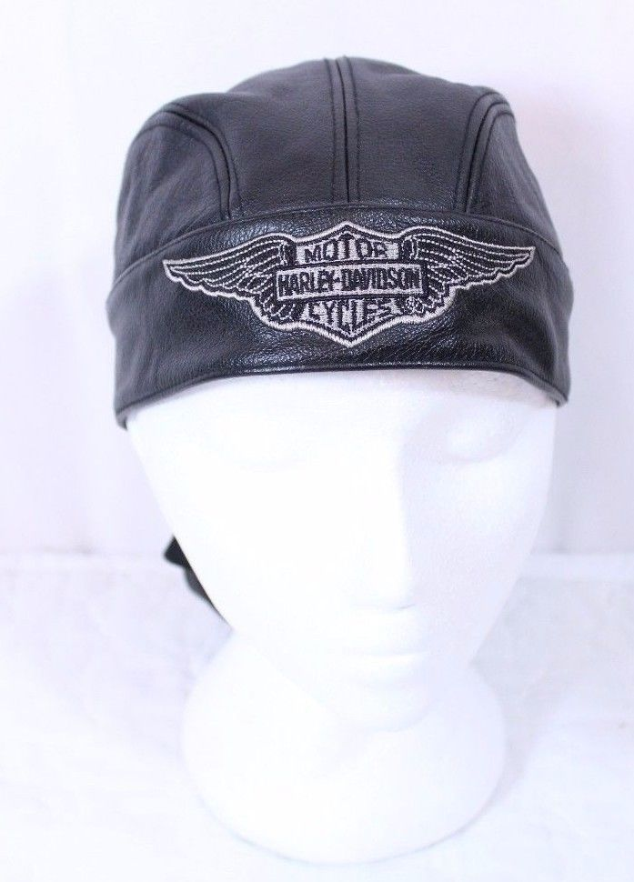 check out c9348 40c65 Harley Davidson Sz L Leather Skull Cap Do Rag Wings Logo Embroidery Lined  Black