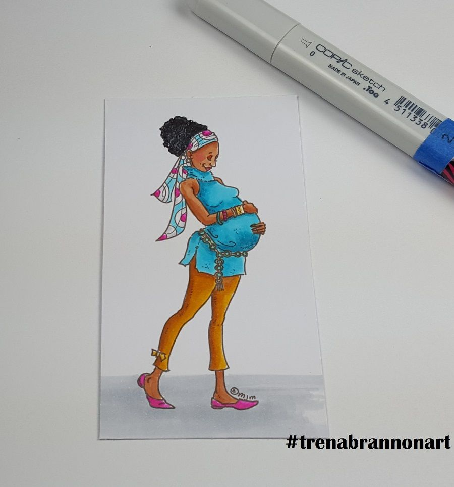 Day14 #thedailymarker30day. #copiccoloring by #trenabrannonart image by #momanning #expecting #binintheoven #joy #pregnant #copic #copicmarkers