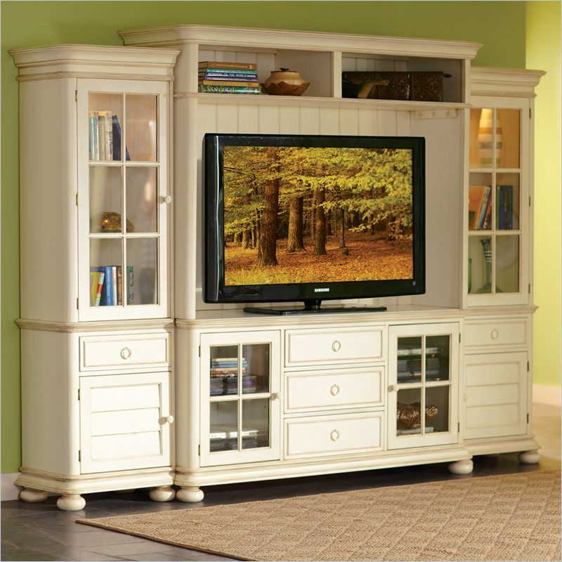 White Country Style Entertainment Centers Furniture Placid