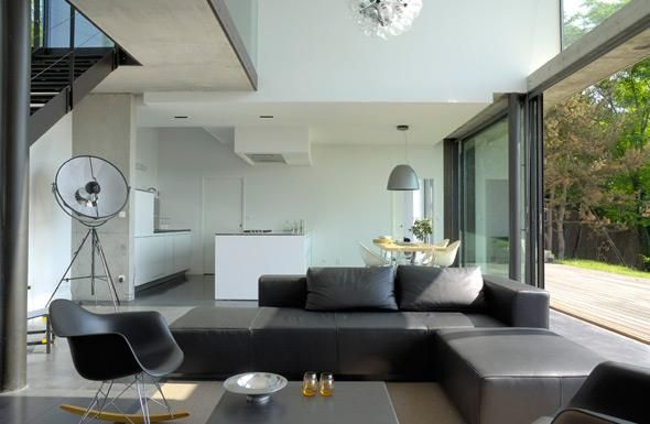 771488-salle-a-manger-design-et-contemporaine-salon-avec-canape-d - salon sejour cuisine ouverte