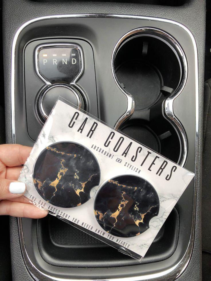 Black Marble - Car Coaster Set